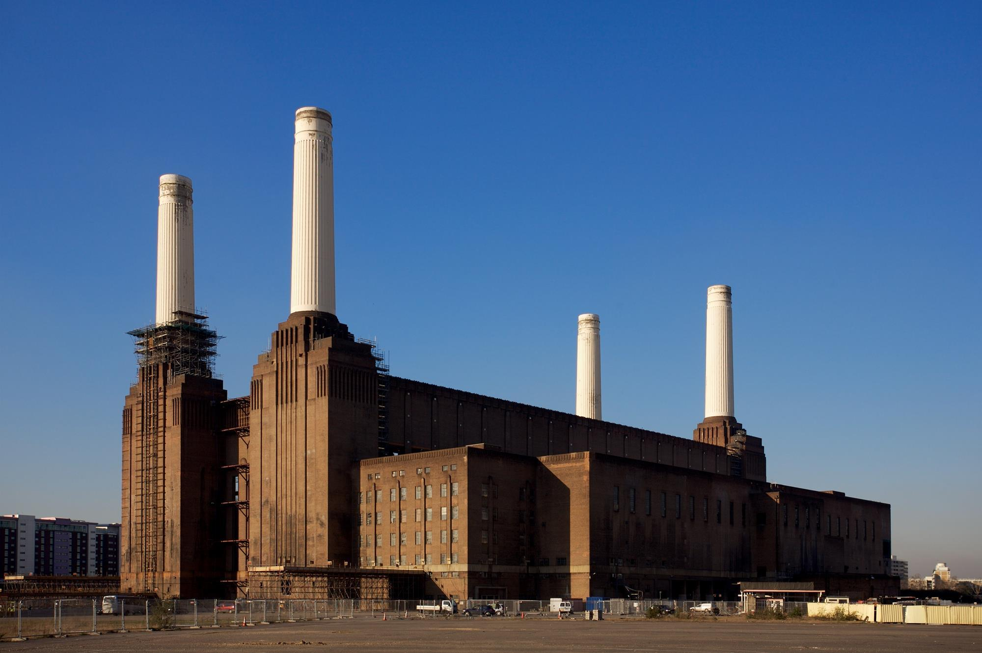 Demolition Of First Battersea Power Station Chimney To