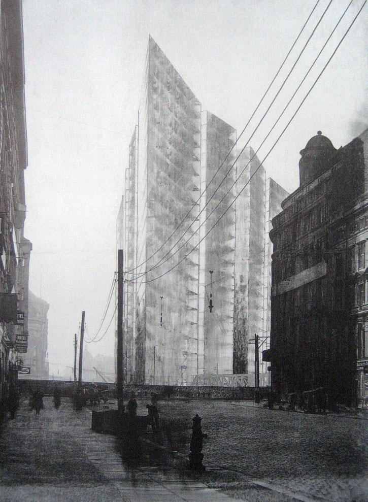 Top 10 unbuilt towers friedrichstrasse tower by mies van for Bauhaus berlin edificio