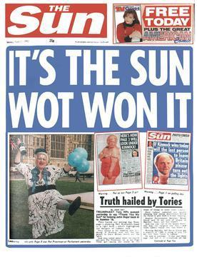 The Sun's famous front page after the 1992 election