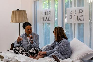 Beatriz Colomina and architect Lesley Lokko recreate John Lennon and Yoko Ono's bed-in for the Serpentine Gallery's Work Marathon event