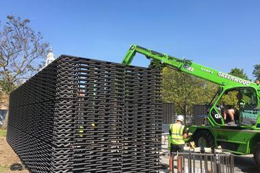 Frida Escobedo's Serpentine Pavilion under construction in Kensington Gardens