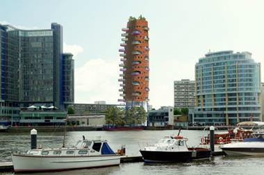 aLL Design's Heliport Heights proposals, pictured from the north side of the River Thames