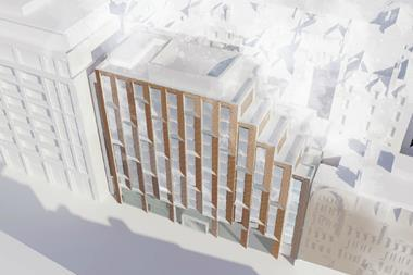 Aerial view of Dexter Moren's Vauxhall Bridge road hotel proposals