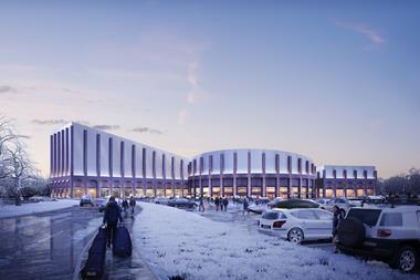 Approach view of FaulknerBrowns' Swindon Indoor Snow Centre, designed for Seven Capital