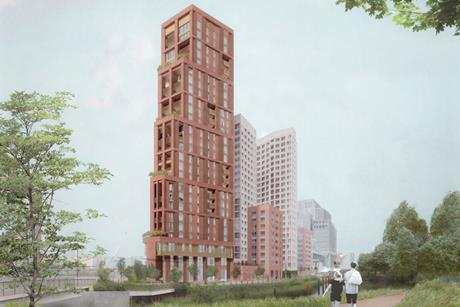 O'Donnell & Tuomey's landmark tower concept for the 600-home residential element of East Bank