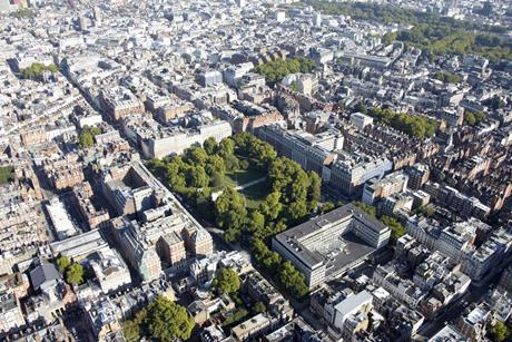 Aerial view of Grosvenor Square and the wider Grosvenor estate