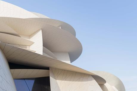 Close-up view of the interlocking disks of the upcoming National Museum of Qatar designed by Ateliers Jean Nouvel