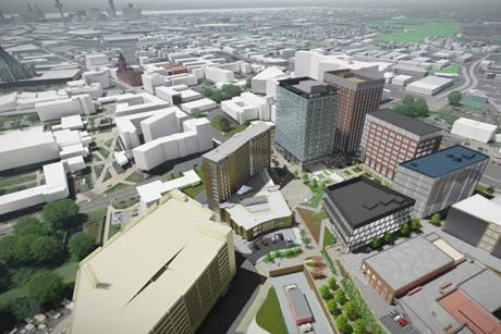 "Overview of the Paddington Village development in Liverpool, with AHR's ""The Spine"" building in place"