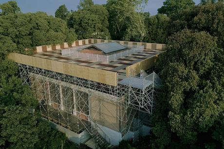 Island at the British Pavilion: aerial view of the back of the British Pavilion