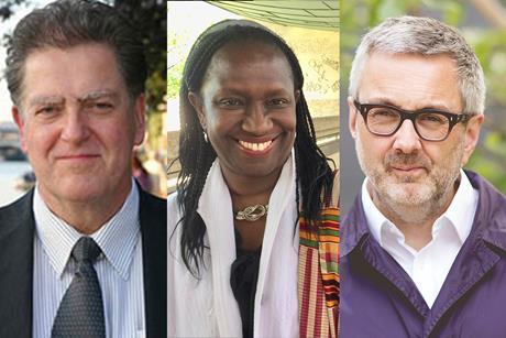 RIBA 2018 presidential candidates Phil Allsopp Alan Jones Elsie Owusu collage trio