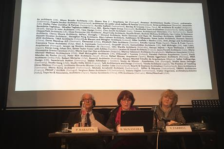 Yvonne Farrell and Shelley McNamara of Grafton at the Venice Biennale press conference in London with biennale president Paolo Baratta