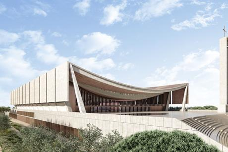 Exterior perspective of Adjaye Associates' National Cathedral of Ghana