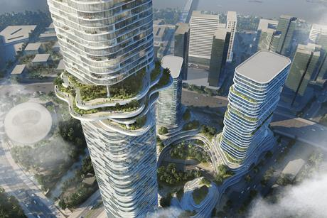 Empire City in Ho Chi Minh City Vietnam, by Buro Ole Scheeren - sky forest and cultivated terraces