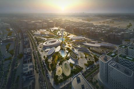 Zaha Hadid Archtiects' design for the Central Hub at Aljada, in the UAE city of Sharjah
