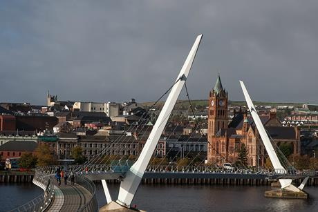 Peace Bridge and Guild Hall in Derry