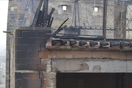 Still from drone footage showing the extent of the fire damage suffered by the Mackintosh Building