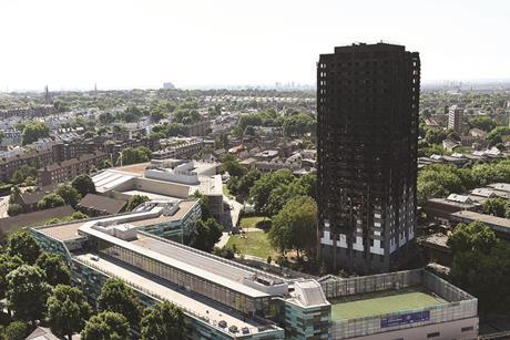 Grenfell Tower one week after the fire