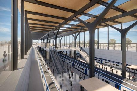 Proposals for a new station at Manchester Airport, created by Bennetts Associates for Greater Manchester Combined Authority's 'The Stop Is Just The Start' strategy document