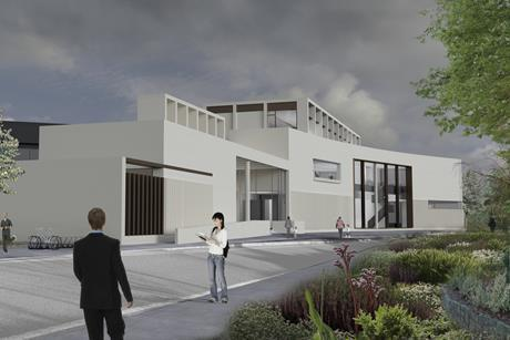 North approach of Keith Williams Architects proposals for the new Clare County Library in Ennis