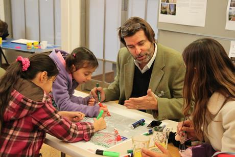 Charles Campion with young people at a St Clements charrette in east London