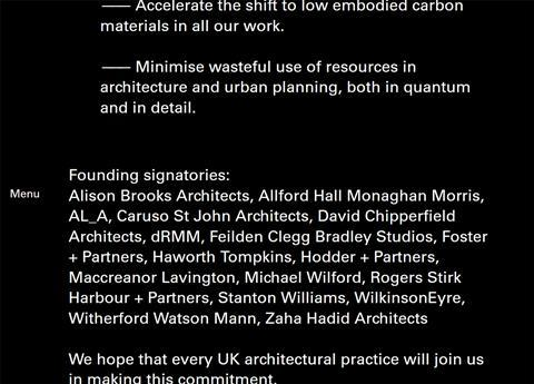 Architects Declare Climate and Biodiversity Emergency founding signatories_screenshot Dec 2-2020