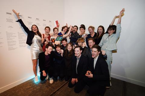 The members of Assemble celebrate winning the 2015 Turner Prize at the Tramway in Glasgow