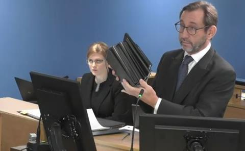 Grenfell Tower Inquiry lead counsel Richard Millett with the diaries submitted by Peter Maddison