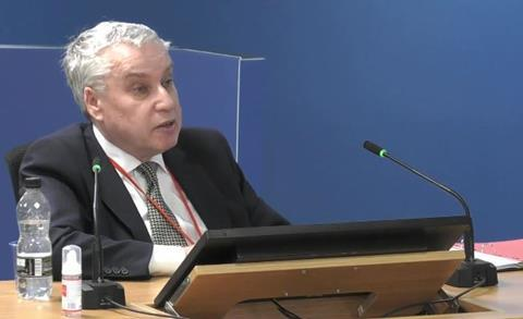 Former Kensington and Chelsea building control officer John Hoban appears before the Grenfell Tower inquiry on 30 September 2020