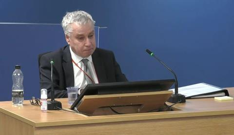 John Hoban gives evidence to the Grenfell Tower Inquiry on 1 October 2020