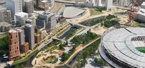 The proposed East Bank section of Stratford Waterfront, masterplanned by Allies & Morrison