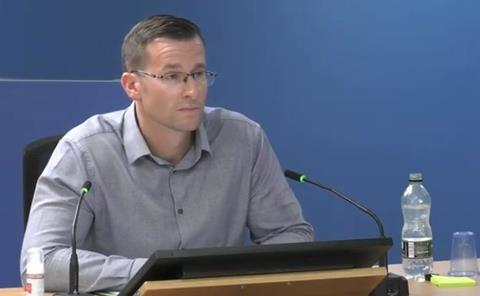 Daniel Anketell-Jones, former Harley Facades staff member, gives evidence to the Grenfell Tower Inquiry on 14 September 2020