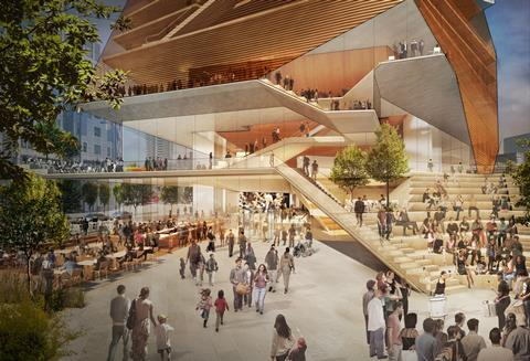 The entrance foyer at Diller Scofidio & Renfro's proposed Centre for Music
