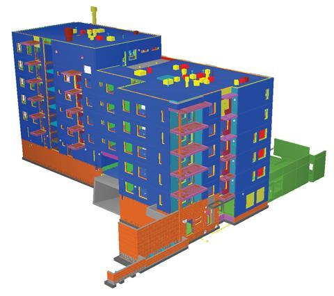 A whole model view of a project using BIMsight software by Tekla.