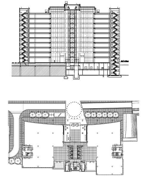 Long section (top), Ground floor plan (bottom)