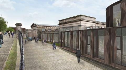 Hoskins Architects revised 2017 proposal for the old Royal High School on Calton Hill in Edinburgh - view to entrance