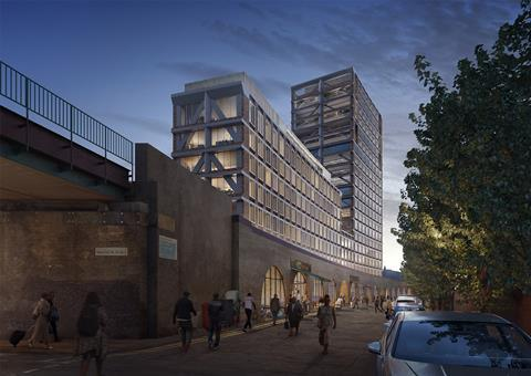 Popes Road Brixton Adjaye Associates tower - view from Brixton Station Road - Sept 2020