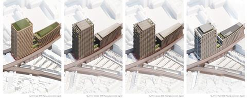 Popes Road Brixton Adjaye Associates tower - massing evolution to March 2020