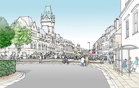 JTP plan for Winchester - view of the Broadway and Guildhall