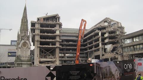 Demolition of John Madin's Birmingham library is well underway