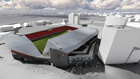 Artist impression of Brentford FC's new stadium