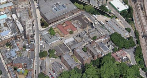 Aerial view of the St Pancras Hospital site, earmarked for a 45,000 sq m new Moorfields Eye Hospital