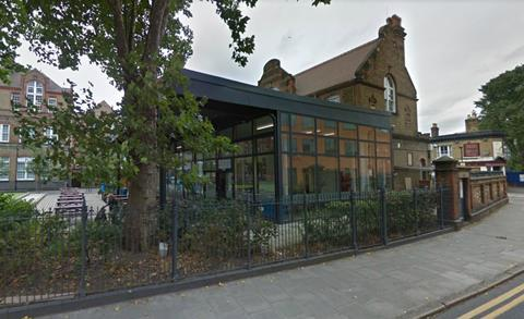 The existing single-storey extension at Sarah Bonnell School in east London