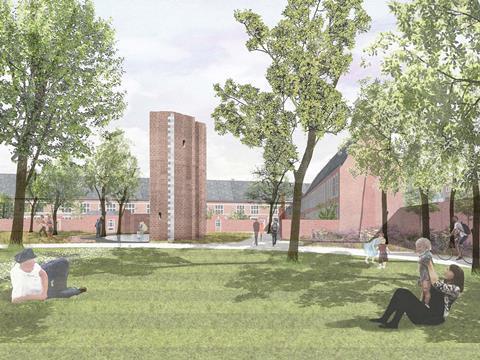 Garden view. David Kohn Architects' scheme for Hasselt University beguinage