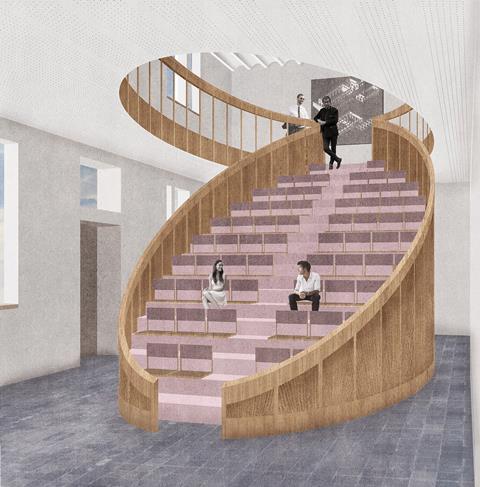 BHA auditorium. David Kohn Architects' scheme for Hasselt University beguinage
