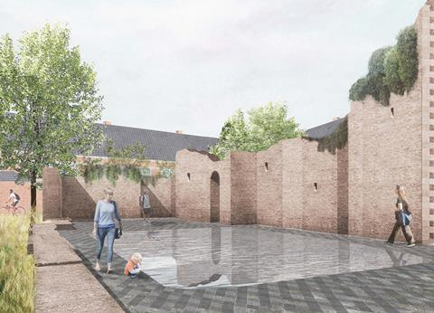 Ruin pool. David Kohn Architects' scheme for Hasselt University beguinage