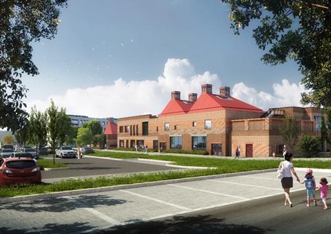 Alkerden CoE Academy - view of Primary School along pedestrian spine © Lifang UK (1)