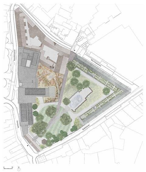 Site plan. David Kohn Architects' scheme for the Hasselt University beguinage