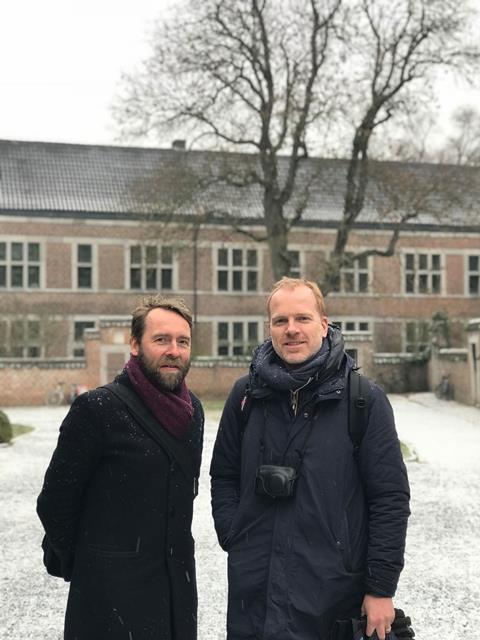 Dirk Somers and David Kohn outside Hasselt University beguinage