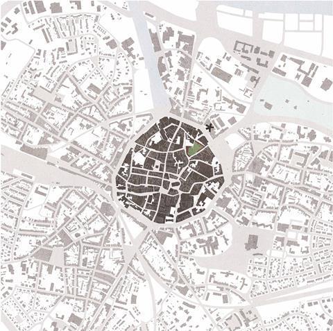 Hasselt city plan. David Kohn Architects' scheme for the Hasselt University beguinage