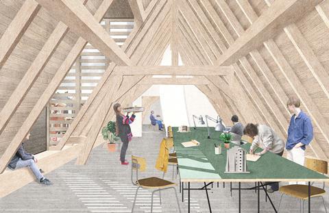 Attic studio. David Kohn Architects' scheme for the Hasselt University beguinage